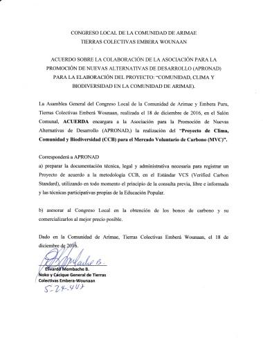 Acuerdo del Congreso Local de Arimae, 18 diciembre 2016